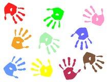 Cópias coloridas da mão Foto de Stock Royalty Free