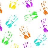 Cópias coloridas da mão do teste padrão sem emenda Imagem de Stock Royalty Free