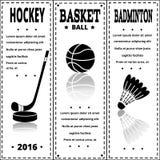Cópias do preto dos esportes no estilo retro Grupo de esporte do vintage Fotos de Stock