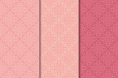 Cópias geométricas do vermelho de cereja Jogo de testes padrões sem emenda Fotos de Stock