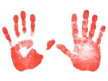 Cópias vermelhas das mãos Imagem de Stock