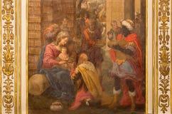 Córdoba - adoración del fresco de unos de los reyes magos en la iglesia Iglesia de San Agustin de Cristobal Vela (1588-1654) Fotografía de archivo