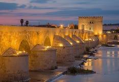 Córdoba - el puente y el Torre romanos de Calahorra Imagen de archivo libre de regalías