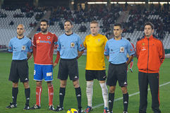 CÓRDOBA, ESPAÑA - 13 DE ENERO: Alineación inicial de los jugadores durante la liga Córdoba del partido (W) contra Numancia (r) (1- Fotografía de archivo libre de regalías