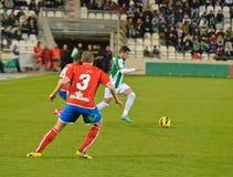 CÓRDOBA, ESPAÑA - 13 DE ENERO: Cristian García W (7) en la acción durante la liga Córdoba del partido (W) contra Numancia (r) (1-0 Imágenes de archivo libres de regalías