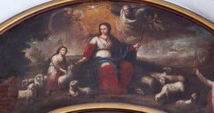 Córdoba - Madonna y el niño Jesús como el pastor (Divina Pastora) en la iglesia Convento de Capuchinos (Iglesia Santo Angel) Fotos de archivo