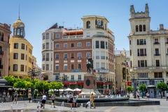 Córdova, Espanha - 20 de junho: O centro da cidade, Plaza de las Tendill imagem de stock