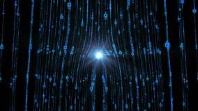 Córrego azul abstrato no alargamento vertical e digital da lente com vídeo preto do fundo video estoque