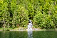 Córrego bonito do rio da montanha Fundo ensolarado da natureza do rio e das rochas Foto de Stock Royalty Free