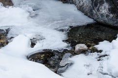 Córrego coberto com a neve de derretimento foto de stock