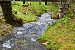 Córrego com água de fluxo sob a ponte Foto de Stock Royalty Free