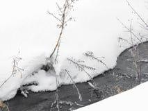 Córrego congelado entre inclinações cobertos de neve, flocos de neve, wate congelado imagem de stock royalty free