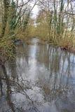Córrego congelado gelado em Kent Countryside foto de stock