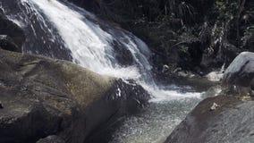 Córrego da água no rio da montanha que derrama em grandes pedras Água da cachoeira da montanha que flui rapidamente no rio rochos video estoque