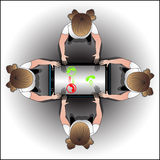 Córrego da informação entre povos através do telefone Fotografia de Stock