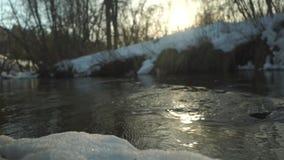 Córrego da mola no por do sol com reflexão do sol filme