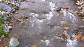 Córrego da montanha com pedra e atual pequenos filme