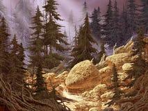 Córrego da montanha da cascata ilustração royalty free