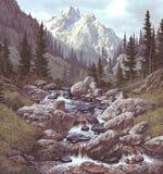 Córrego da montanha nas Montanhas Rochosas ilustração do vetor