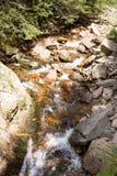 Córrego da montanha que flui entre as inclinações íngremes do Rhodope Mo Fotografia de Stock