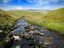 Córrego do Upland através dos campos e das montanhas Imagem de Stock