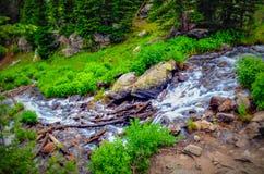 Córrego em montanhas rochosas Fotografia de Stock Royalty Free