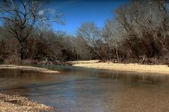 Córrego em Ozark Mountains, Missouri, EUA Imagens de Stock