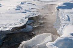 Córrego morno sob o gelo com embaçamento Fotos de Stock Royalty Free