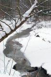 Córrego no inverno   fotografia de stock