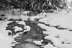Córrego pequeno na neve do inverno imagem de stock royalty free