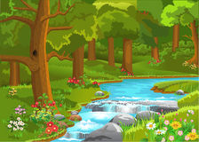 Córrego que corre através da floresta ilustração royalty free