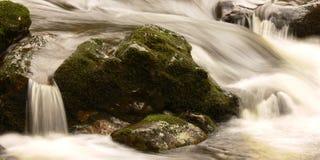 Córrego que flui sobre rochas Imagens de Stock