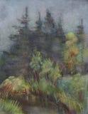 Córrego quieto na madeira ilustração stock