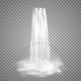 C?rrego real?stico da natureza da cachoeira com o arco-?ris e n?voa claros da ?gua Ilustra??o do vetor isolada no fundo transpare ilustração royalty free