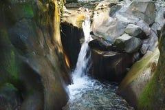 Córrego sereno encantador da água que flui entre pedras da angra da montanha fotos de stock royalty free