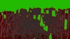 Córregos de espirrar o sangue orgânico na frente de uma tela verde para VFX, cenas do crime, filmes de terror e Dia das Bruxas ilustração royalty free