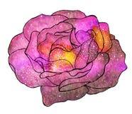 Cósmico subió Flor a mano con la galaxia Fotografía de archivo