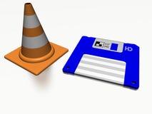 Cône de construction et à disque souple Photographie stock libre de droits