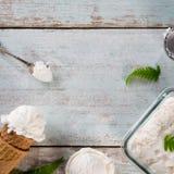 Cône de gaufrette de crème glacée de noix de coco image libre de droits