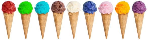 Cône de parfait de collection de scoop de crème glacée en été de glace de rangée photos stock