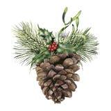Cône de pin d'aquarelle avec le décor de Noël Cône peint à la main de pin avec la branche, le houx et le gui d'arbre de Noël Photo stock