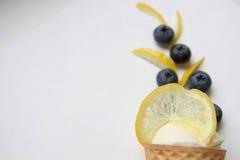 Cône Scoop de la crème glacée blanche avec le citron et les myrtilles Photographie stock libre de droits