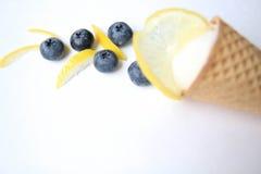 Cône Scoop de la crème glacée blanche avec le citron et les myrtilles Photo libre de droits