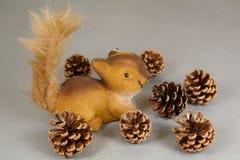 Cônes de figurine et de pin d'écureuil Images libres de droits