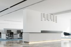 Côté de bureau, blanc et noir blanc de réception Images stock