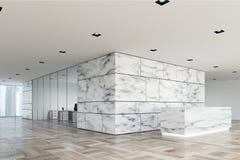 Côté de marbre et en verre de lobby de réception illustration stock