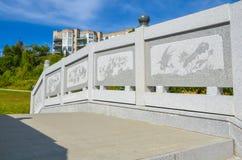Côté en pierre chinois de pont images stock