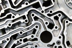 Côté supérieur des pièces en aluminium du moteur photographie stock libre de droits