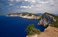 Côte. The west coast of the greek island Lefkada Royalty Free Stock Photo