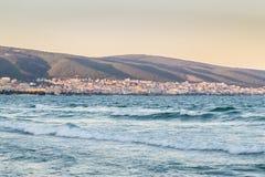 Côte bulgare Sunny Beach Resort de la Mer Noire et montagnes Sunse Photos libres de droits